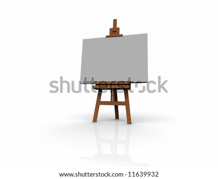 3D wood easel - stock photo