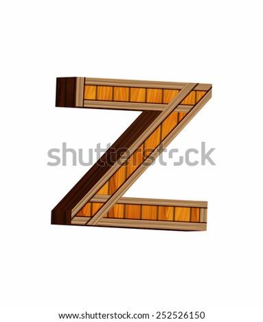 3D Wooden Alphabet Letters Z - stock photo