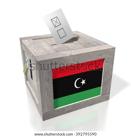 3D wooden ballot box - great for topics like presidential/ parliamentary election in Libya. - stock photo