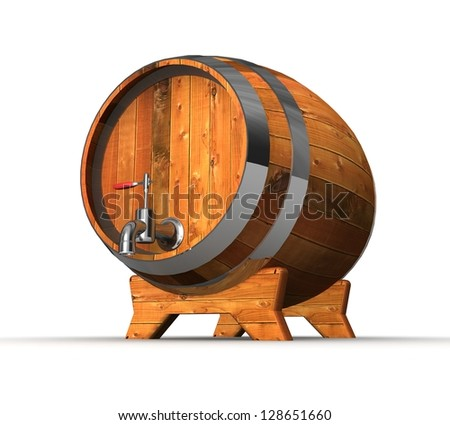 3d Wooden barrel with valve - stock photo