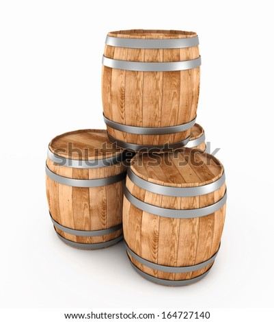 3d wooden barrels isolated on a white background. 3d render image. - stock photo