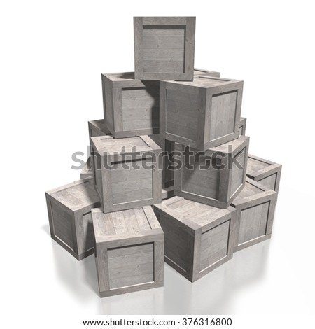 3D wooden boxes - great for topics like freight transportation, delivery, warehouse etc. - stock photo