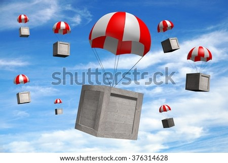 3D wooden boxes/packages on parachutes - great for topics like freight transportation, delivery etc.