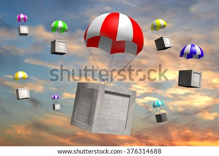 3D wooden boxes/packages on parachutes - great for topics like freight transportation, delivery etc. - stock photo