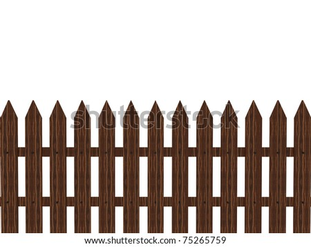 3d wooden brown fence isolated on white
