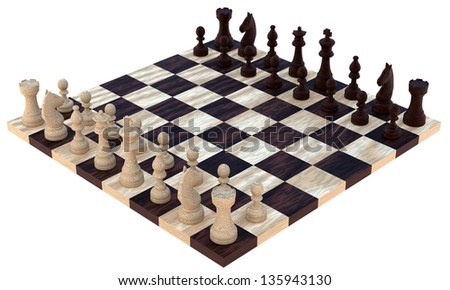 3d wooden chess - stock photo