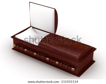 3D Wooden coffin from mahogany, with the open door - stock photo