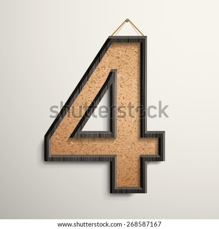 3d wooden frame cork board number 4 isolated on beige background