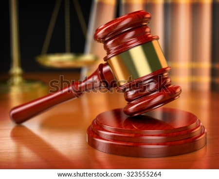 3d wooden gavel. Law concept. Realistic render - stock photo