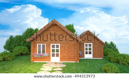 3D wooden house illustration standing on the trees background