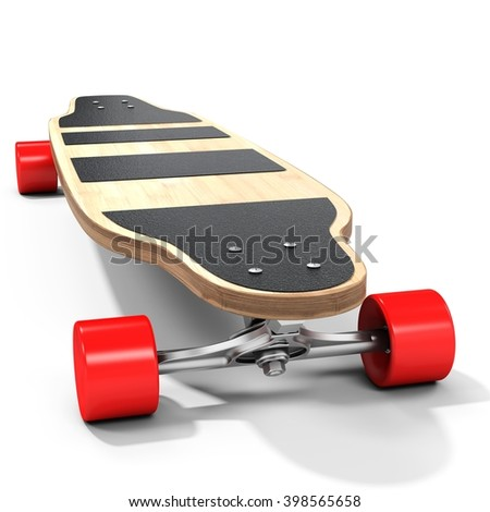 3d wooden longboard, skateboard with red wheels on white background 3D illustration