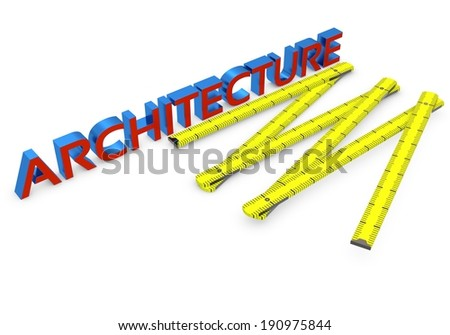 3d wooden meter and architecture on white background