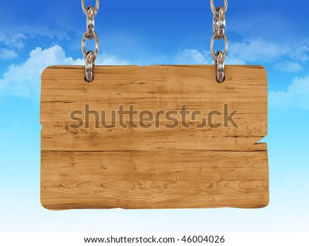 3d wooden sign board with cloudy sky