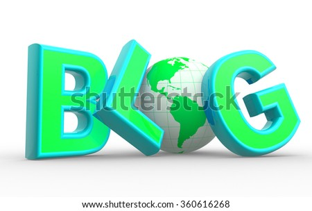 """3d Word """"blog"""" and  earth globe. Concept of communication - Internet.  - stock photo"""