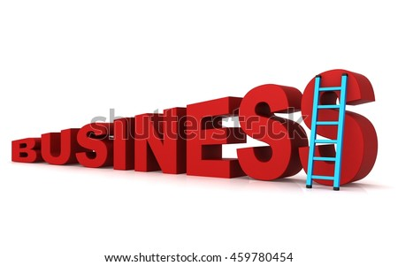 3d word business and ladder concept