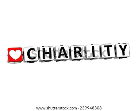 3D Word Charity on white background - stock photo