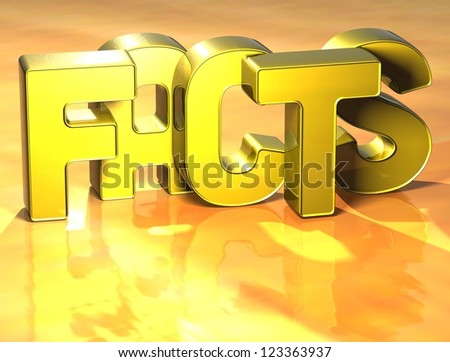 3D Word Facts on yellow background
