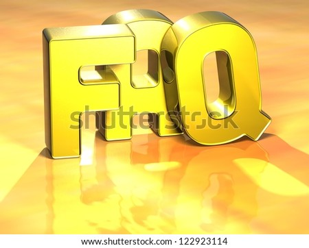 3D Word FAQ on yellow background