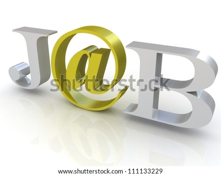 3 D Word Job Gold Email Symbol Stock Illustration 111133229