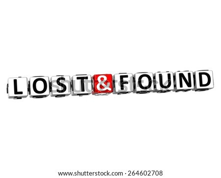 3D Word Lost and Found on white background - stock photo