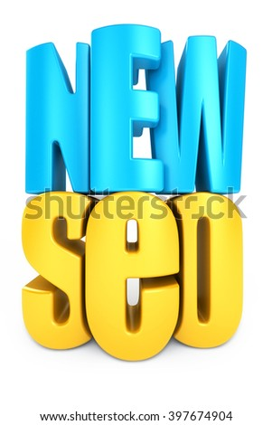3d word NEW SEO in white isolation background - stock photo