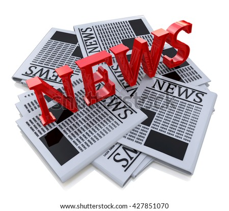 3D Word News And Newspaper in the design of the information associated with the media space. 3d illustration - stock photo