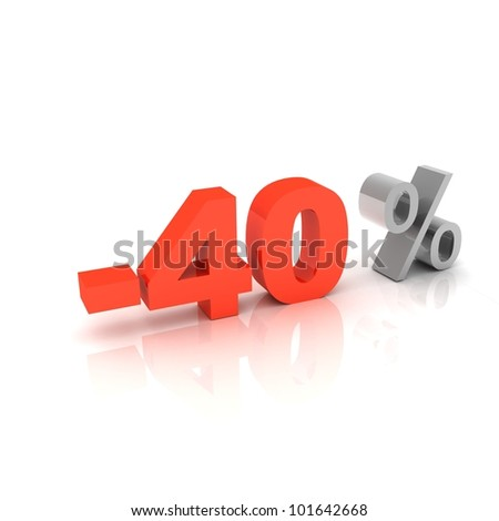 3d word 40 percent off on white isolated background - stock photo