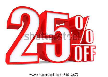 3d word 25 percent off on white isolated background - stock photo