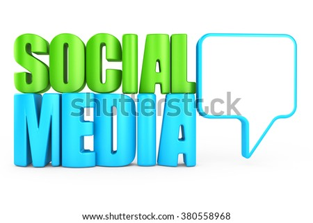 3d word social media on white background