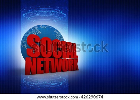 3d word SOCIAL NETWORK with global - stock photo