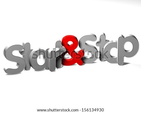 3D Word Start And Stop on white background    - stock photo