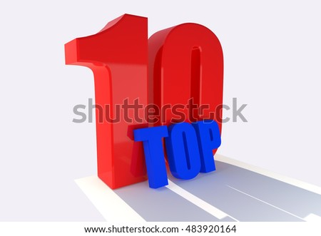 3d word top 10 in white background