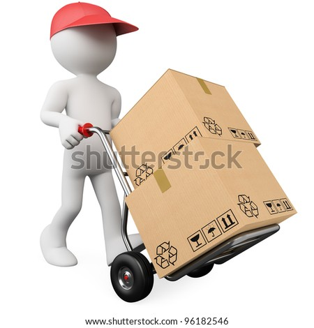 3D worker pushing a hand truck with boxes. Rendered at high resolution on a white background with diffuse shadows. - stock photo