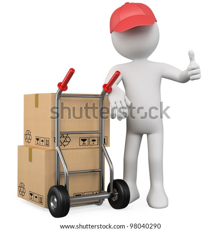 3D worker with a package and thumb up. Rendered at high resolution on a white background with diffuse shadows. - stock photo