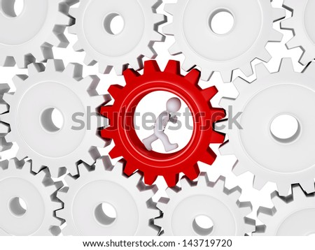 3d worker with tie is running inside of one cogwheel out of many - stock photo