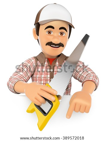 3d working people. Carpenter with saw pointing down. Blank space. Isolated white background. - stock photo