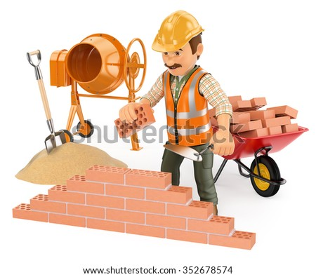 3d working people. Construction worker building a brick wall. Isolated white background. - stock photo