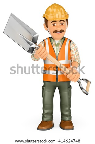 3d working people. Construction worker with a shovel and reflective vest. Isolated white background.