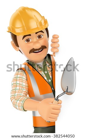 3d working people. Construction worker with trowel pointing aside. Blank space. Isolated white background. - stock photo