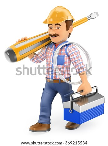 3d working people. Electrician walking with a huge screwdriver and toolbox. Isolated white background. - stock photo