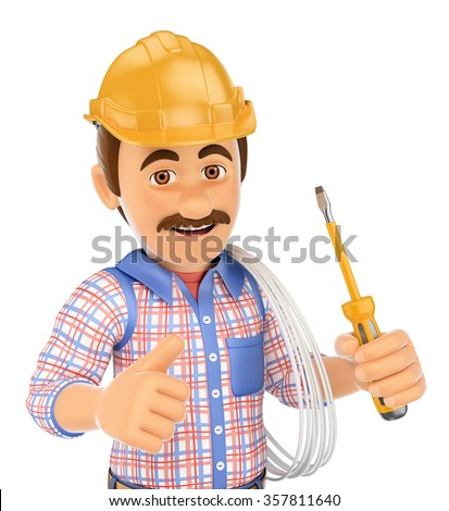 3d working people. Electrician with a screwdriver and wire. Isolated white background. - stock photo
