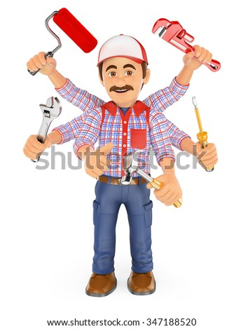 3d working people. Handyman multitasking with six arms. Isolated white background. - stock photo