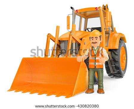 3d working people illustration. Construction worker with a backhoe. Isolated white background. - stock photo