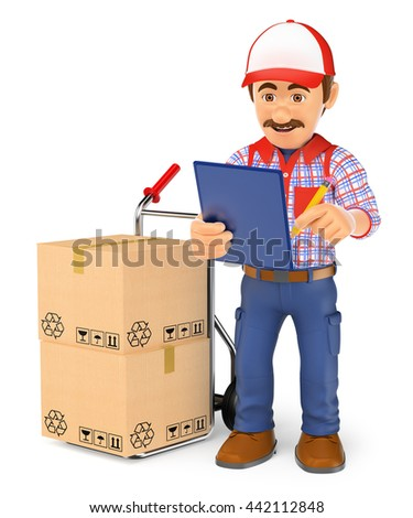3d working people illustration. Courier delivery man checking the packages to deliver. Isolated white background. - stock photo