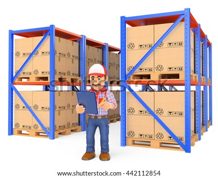 3d working people illustration. Storekeeper checking pallets in the warehouse. Isolated white background - stock photo