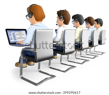 3d working people. Men working in a call center. Isolated white background.