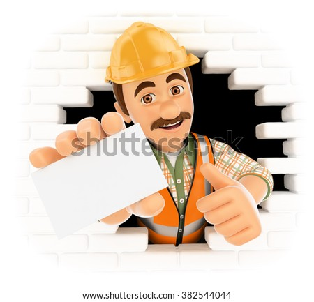 3d working people. Worker coming out a wall hole with a blank card. Isolated white background.