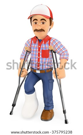 3d working people. Worker with a leg in plaster and crutches. Injured. Isolated white background. - stock photo