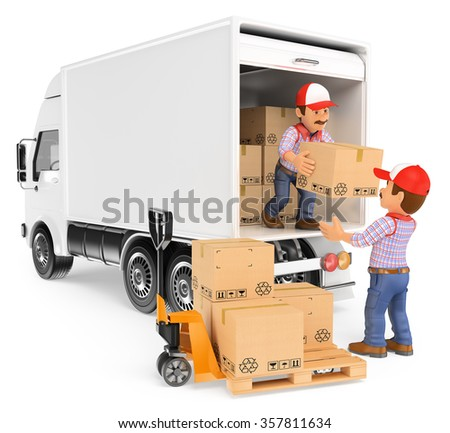 3d working people. Workers unloading boxes from a truck. Isolated white background. - stock photo