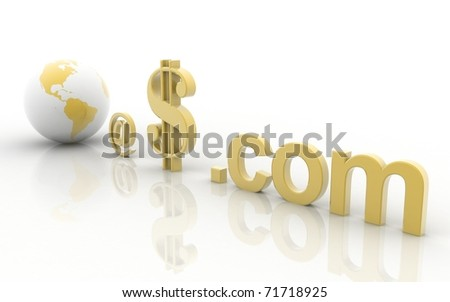 3d world at dollar dot com on a white background - stock photo